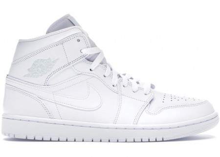 Giày Nike Air Jordan 1 Mid Triple White (2020) 554724-109