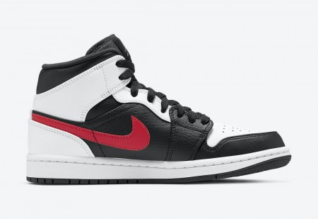 Giày Air Jordan 1 Mid Black Chile Red White 554724-075
